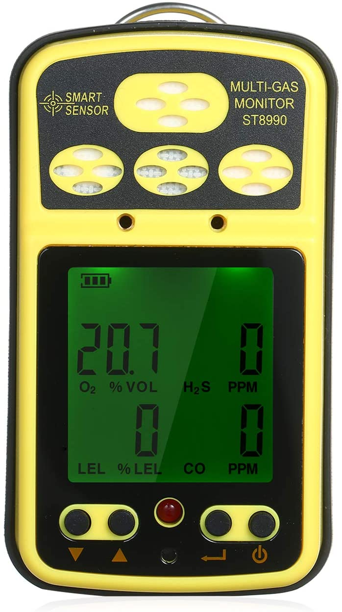 4 Gas Detector Meter Rechargeable Li-Battery Powered LCD Backlight Digital Multi Portable Gas Monitor Tester Analyzer Sensor