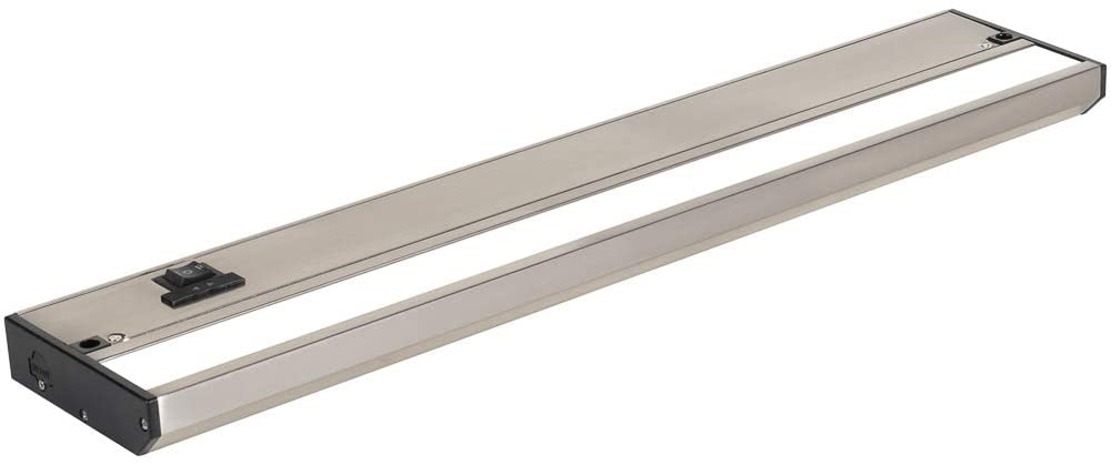 LED Under Cabinet Lighting by NSL - Dimmable Hardwired or Plugged-in installation - 3 Color Temperature Slide Switch - Warm White (2700K), Soft White (3000K), Cool White (4000K) - 18 Inch Satin Nickel