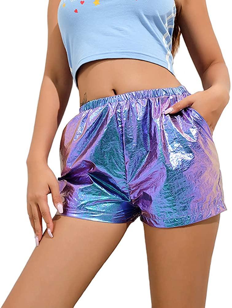 Women High Waist Reflective Shorts Streetwear Hot Elastic Waist Shorts