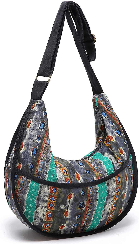 Womens Hippie Large Sling Shoulder Boho Handbag Cotton canvas Hobo Crossbody Bags