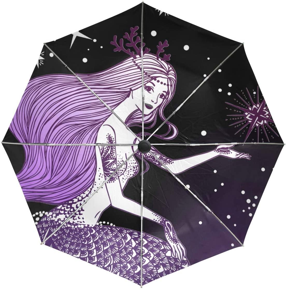 Mermaid Beauty Zodiac Umbrella Large Travel Auto Open Close Sun Blocking Umbrellas for Women Men