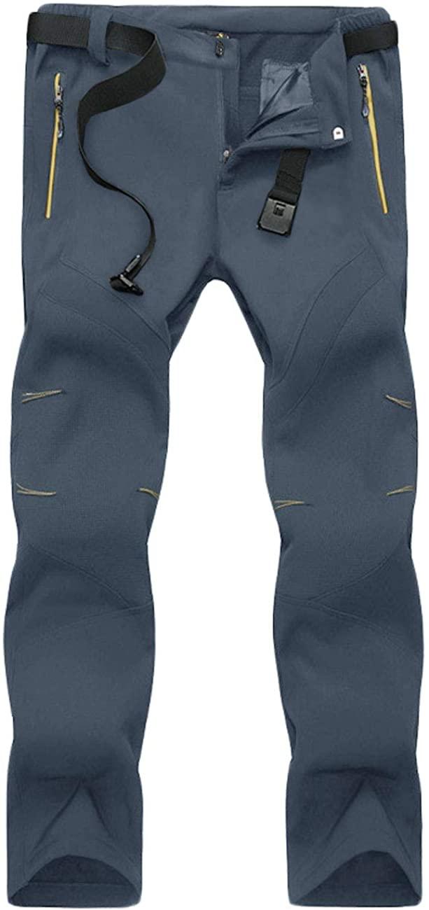 TOTNMC Men's Climbing Pants Hiking Pants Fleece Lined Pants Water-Resistant Softshell Snowboard Ski Pants