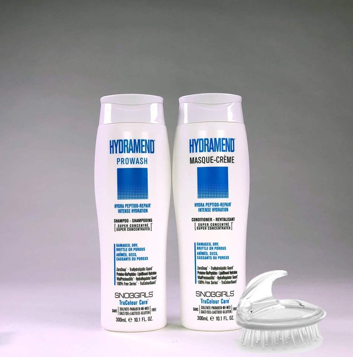 TRIO HYDRAMEND Bundle- 1 Shampoo 10oz. bundle with1 Conditioner 10oz & 1 Shampoo Brush (3 items) Lactose & Gluten Free For Damaged, Dry, Brittle or Porous Hair