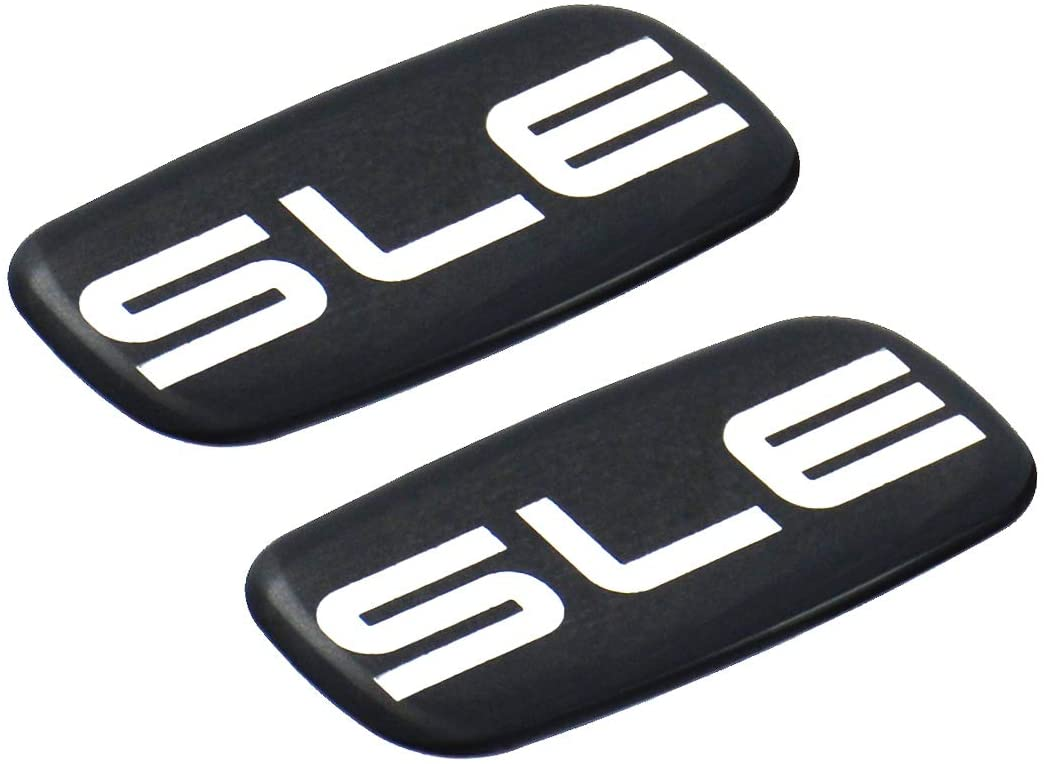 Pair Set of 2 SLE Nameplate Emblem 3D Badge Replacement For GMC Chevrolet Sierra Suburban Yukon 1500 2500 3500 (Chrome/Black)