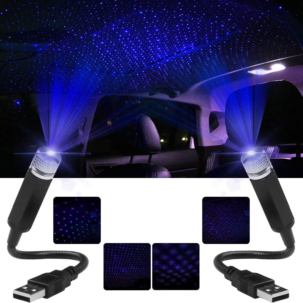 USB Laser Light for Car,Multiple Modes Interior Car Star Night Lights,Romantic Atmosphere Decorations Led Roof Star for Ceiling, Bedroom, Party