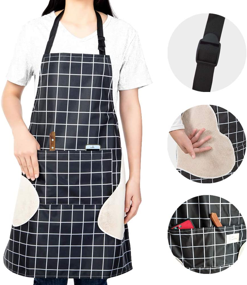 Zunniu Adjustable Waterproof Apron Kitchen Cooking Apron with Pockets Black Checkered Home Cleaning Apron for Women Man Vinyl Waterproof and Oil-Proof Apron with Towels on Both Sides (Black)