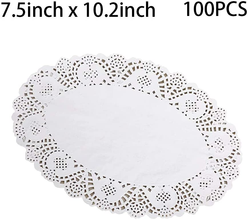 Tim&Lin White Lace Paper Doilies - 7 inch x 10 inch Oval Round Paper Doilies - Disposable Paper Placemats - for Wedding, Birthday, Cakes, Desserts, Tableware Food Decoration, Pack of 100