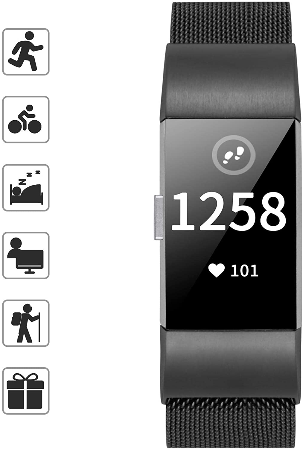 TOMALL Metal Bands Compatible for Fitbit Charge 2,Stainless Steel Metal Replacement Wristband for Women Men (Large, Black)