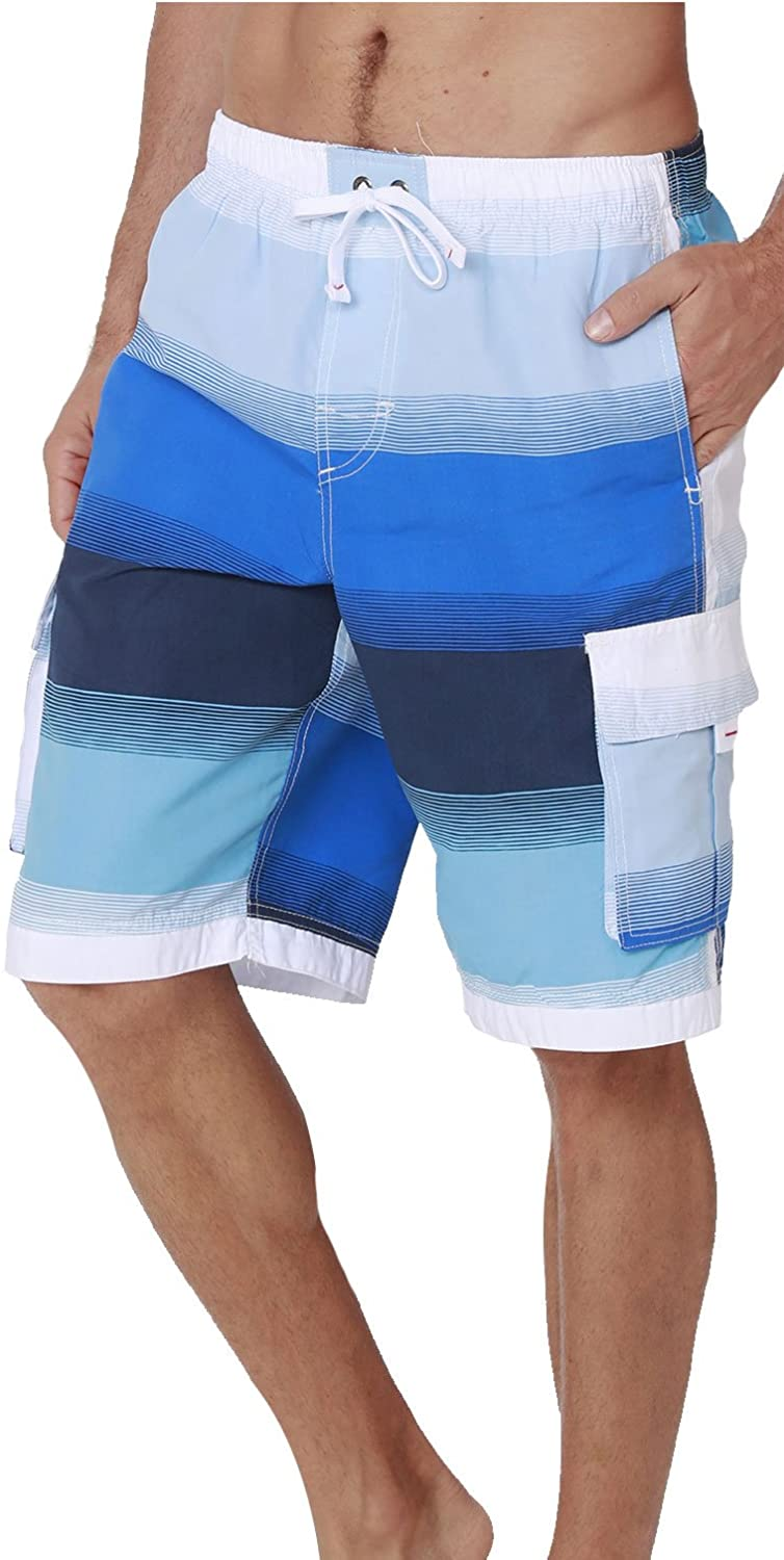 Men's Quick Dry Swim Trunks Cargo Water Shorts with Mesh Lining