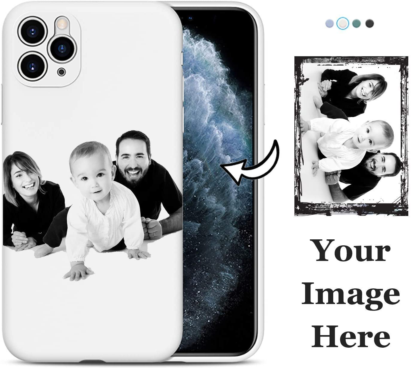 Z.Y Custom Apple iPhone 11 Pro Max | Xr | Gel Rubber Full Body Protection + Screen Protector | Compatible with iPhone X Xs Max, Make Your Own Protective Picture Phone Cases (White, Liquid Silicone)