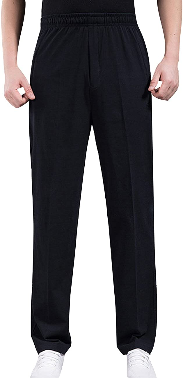 Zoulee Men's Open-Bottom Sports Pants Sweatpants Trousers Front Zip Fly Closure