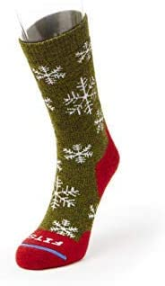 FITS Medium Hiker – Crew: Essential Hiking Socks, Forrest/Red, XL