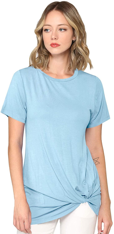 Lock and Love Women's Casual Shirts Twist Knot Tunics Tops