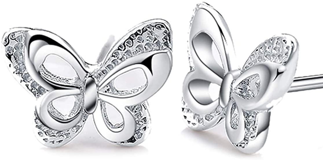 Elegant Butterfly Earrings For Women - Genuine 925 Sterling Silver Butterfly Jewelry for Women or Girls - Cute Stud Earrings