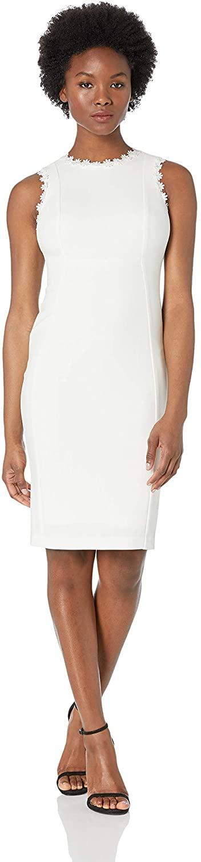 Calvin Klein Women's Petite Seamed Off The Shoulder Dress