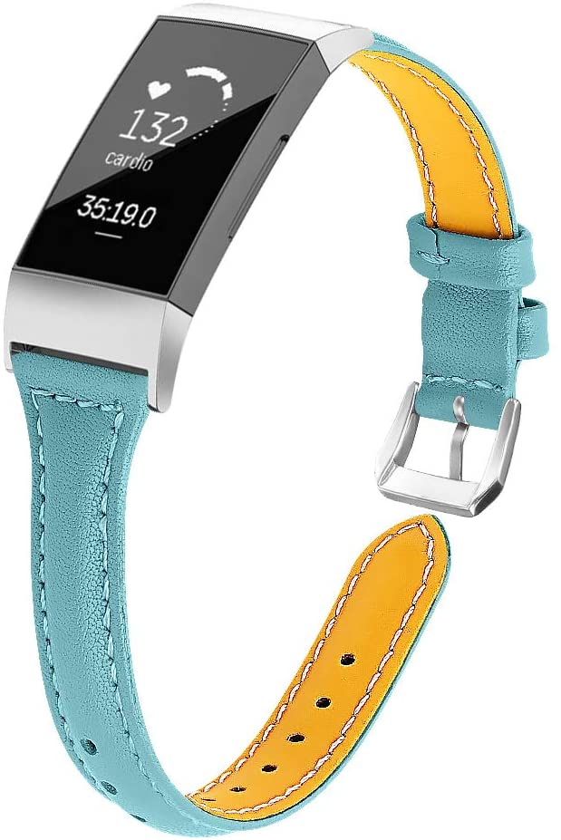 Joyozy Slim Genuine Leather Bands Compatible for Fitbit Charge 3/4 and Charge 3 SE Smart Watch,Adjustable Classic Replacement Wristband Smoky Blue