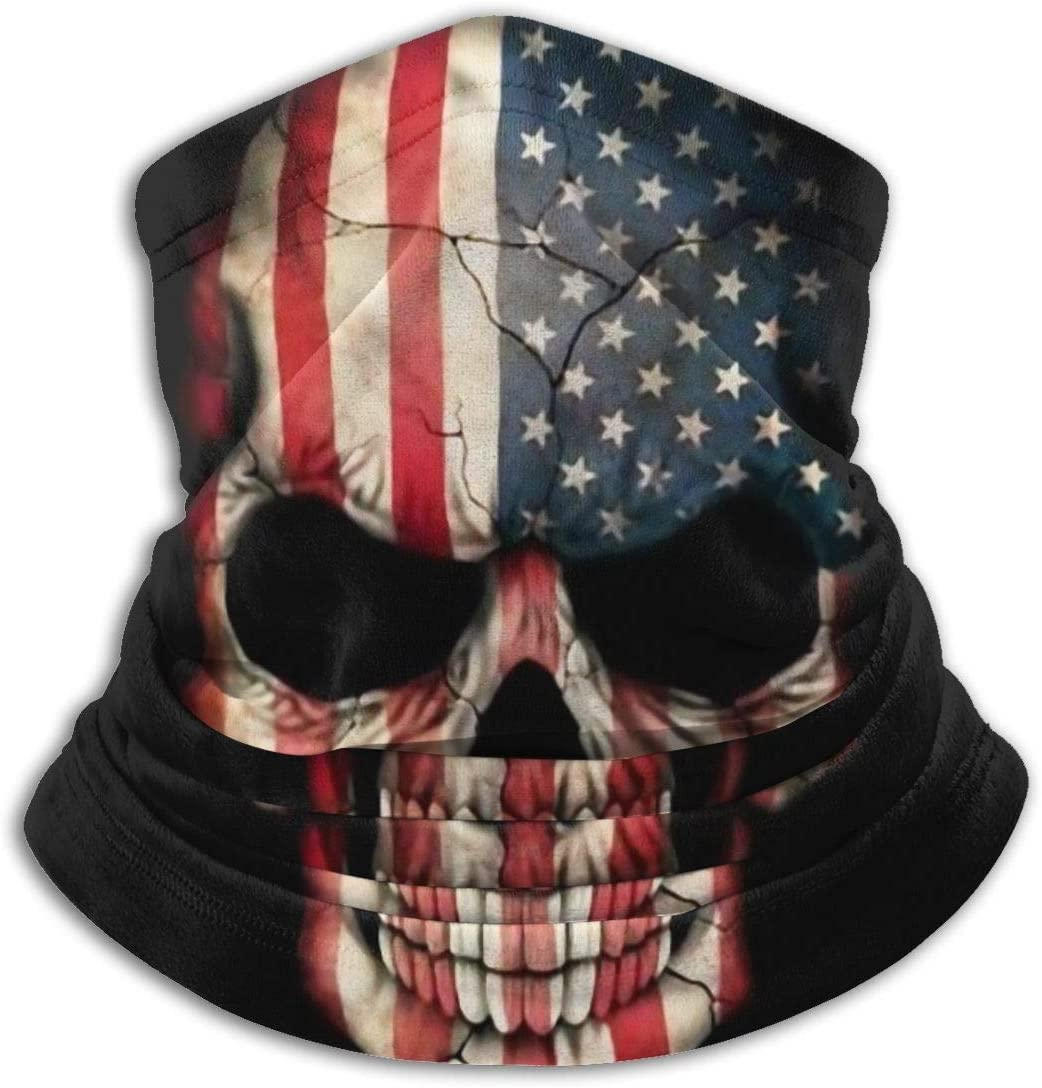 ~ American Flag Skull Unisex Seamless Bandana,Face Mask Multifunction Neck Gaiter Headwear