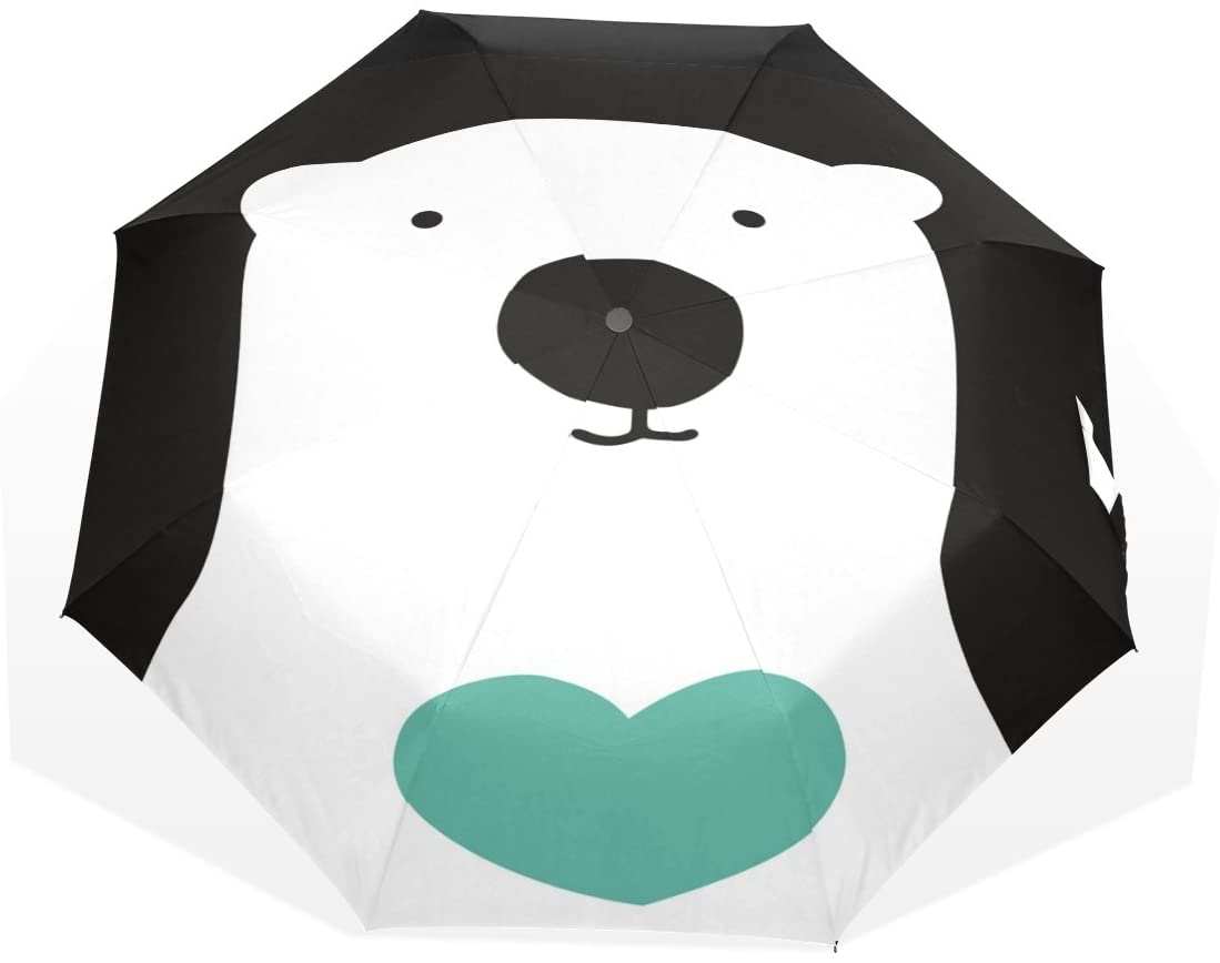 HMWR Cartoon Black Polar Bear Folding Travel Rain Umbrella Manual Open and Close Umbrella for Easy Carrying Reinforced Windproof Frame and Slip-Proof Handle Enough for the Fierce Wind and Heavy Rain