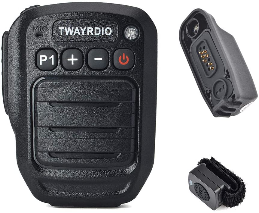 TWAYRDIO Radio Hand Bluetooth Microphone Speaker Shoulder Microphone Mic with Multi-pin Bluetooth Adapter and Finger PTT Button for Motorola XPR6350 XPR6550 XPR7350 XPR7550 Radio