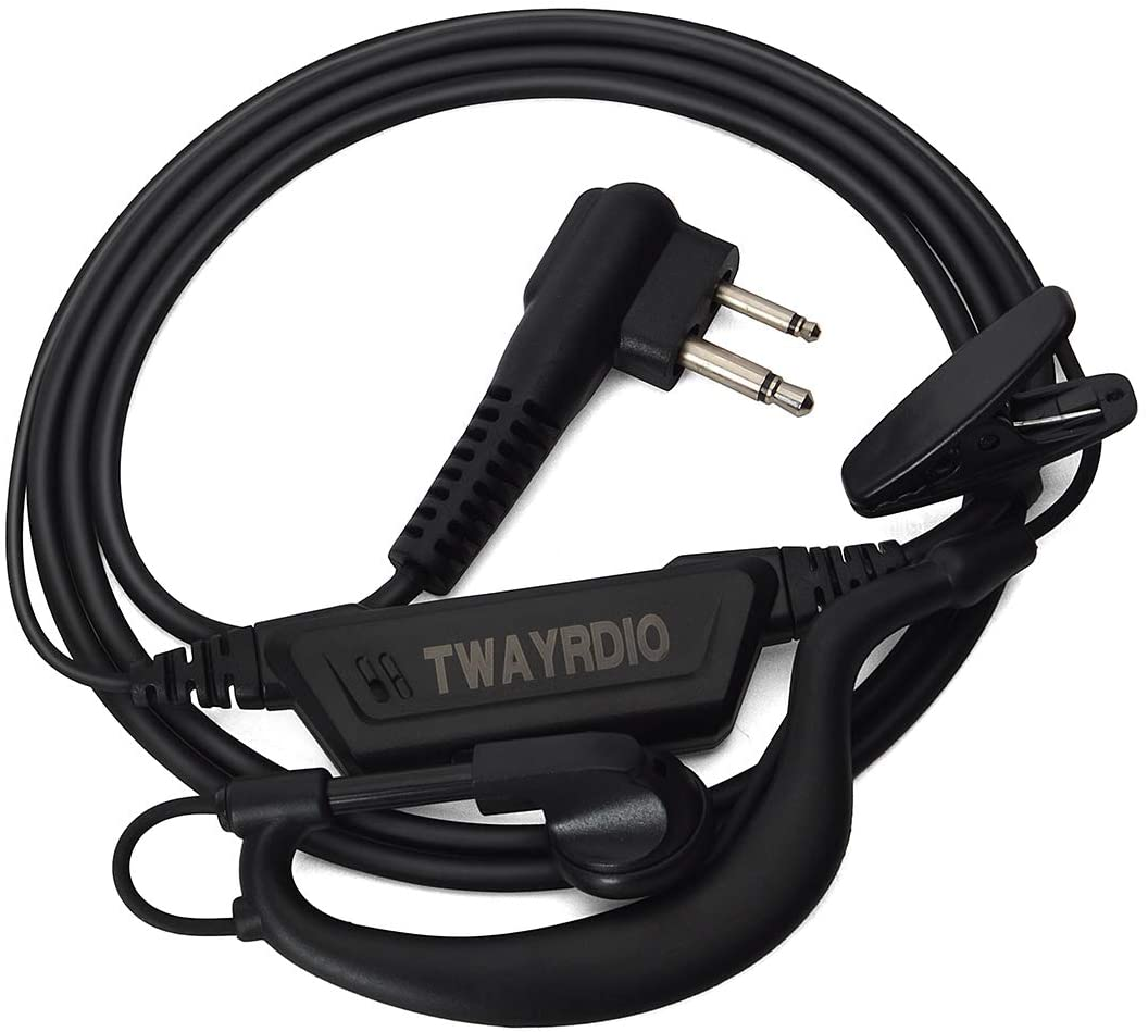 TWAYRDIO G-Shape Walkie Talkie Headset 2Pin Ham Radio Earphone with Mic PTT Compatible for Motorola GP88 CP88 GP300 CP300 Radio