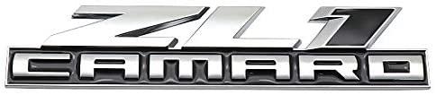 1Pcs ZL1 Camaro Emblem Badge Sticker 3D Metal Car Rear Trunk Fender Side Door Replacement For Camaro (Chrome Black)