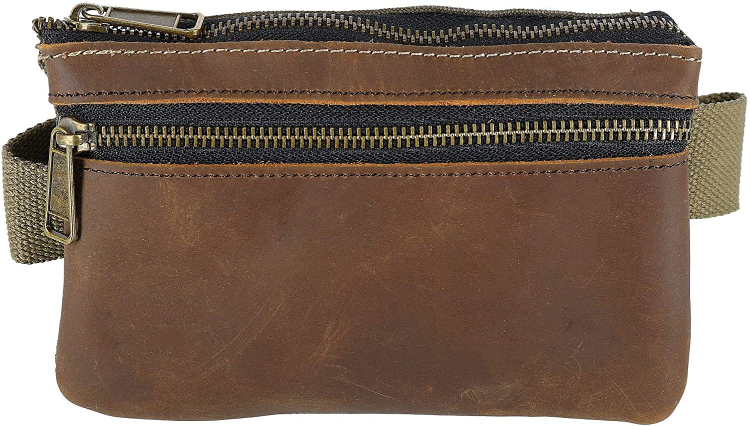 CTM Canvas and Leather Multi Pocket Waist Pack, Olive