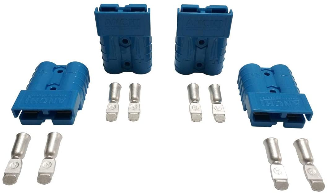 50Amp Power Connector Plug 50A Quick Connect Disconnect 600 V 2 Pairs(4pcs) for Anderson 50Amp (10/12AWG, Blue)