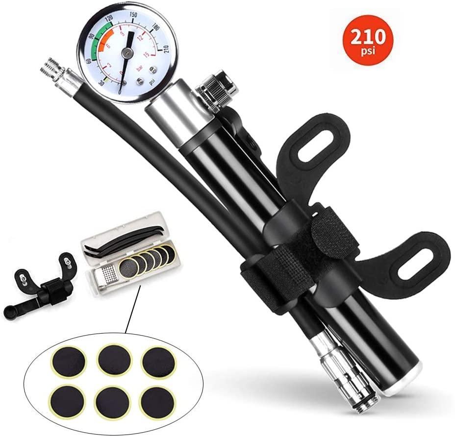GOADAFOO Portable Mini Bike Pump - Glueless Puncture Repair Kit - 210 PSI with Gauge Fit Tire Presta Schrader Value