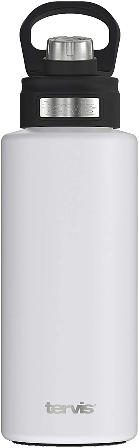 Tervis Powder Coated Stainless Steel Insulated Tumbler, 32oz Wide Mouth Bottle - Deluxe Spout Lid, Glacier White