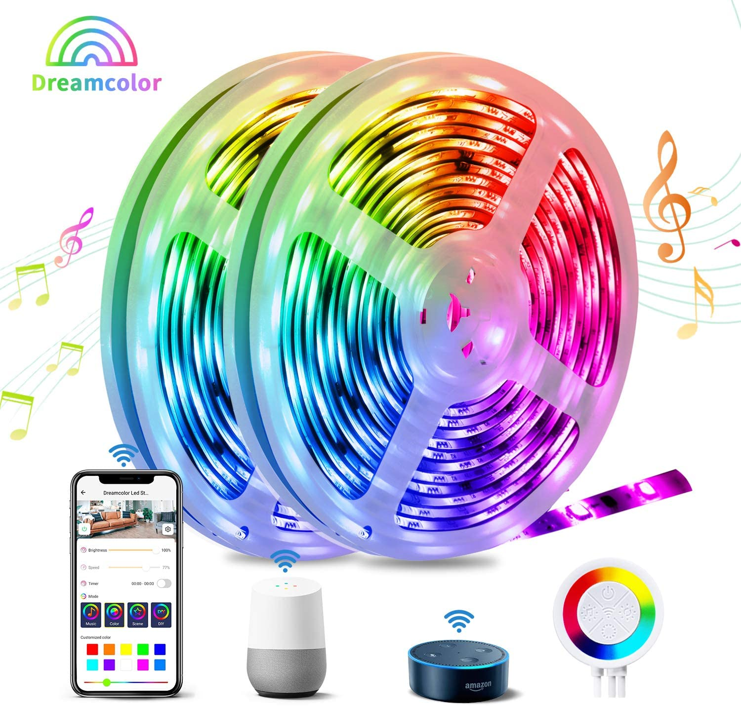 Dreamcolor Smart LED Strip Lights, TASMOR 32.8ft RGBIC WiFi LED Light Strip Music Sync Chasing Effect Light Strip Works with Alexa Google Home IP65 Waterproof App Control for Bedroom, Kitchen, Party