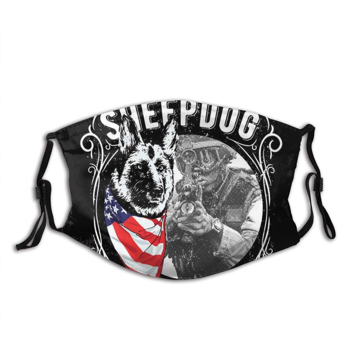 American Sheepdog Pride And Honor Back The Blue Fashion Washable Reusable Cloth Face Mask Bandanas Balaclava Adjustable Face Protection America Flag With 2 Filters For Outdoors