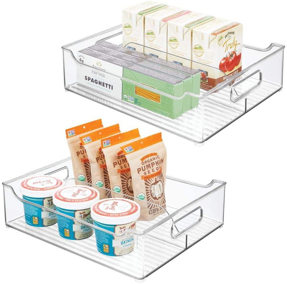mDesign Wide Plastic Kitchen Pantry Cabinet, Refrigerator, Freezer Food Storage Bin with Handles - Divided Organizer for Fruit, Yogurt, Snacks, Pasta - BPA Free, 14.5
