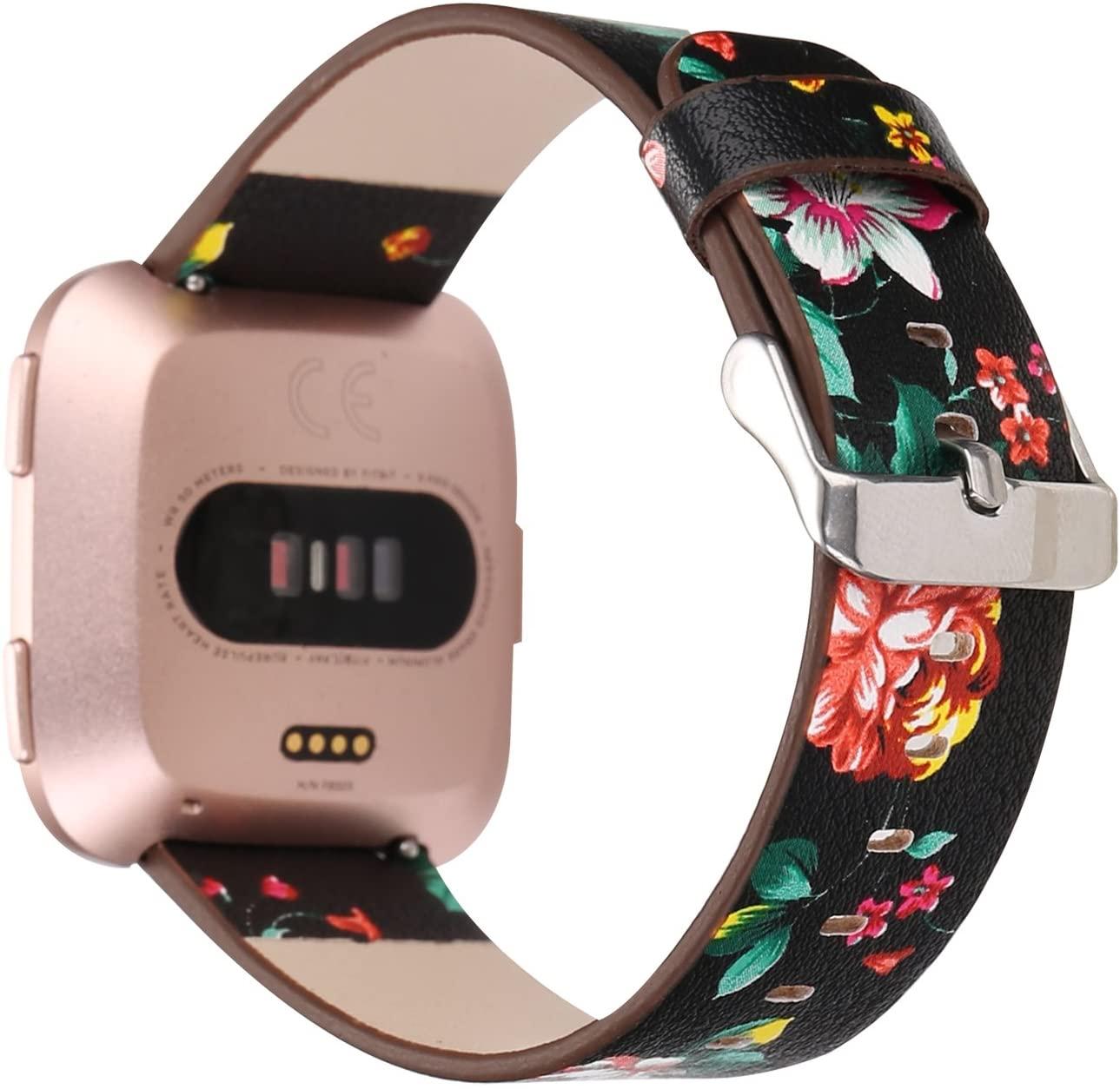 Bands for Fitbit Versa & Versa Lite/Versa 2, Jimbird PU Leather Replacement Bracelet Wrist Watch Band for Fitbit Versa Fitness Smart Watch