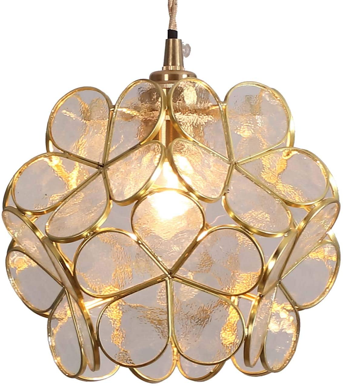 Bieye L10744 Flower Petals Tiffany Style Stained Glass Ceiling Pendant Light with 8-inch Wide Lampshade (Transparent White)