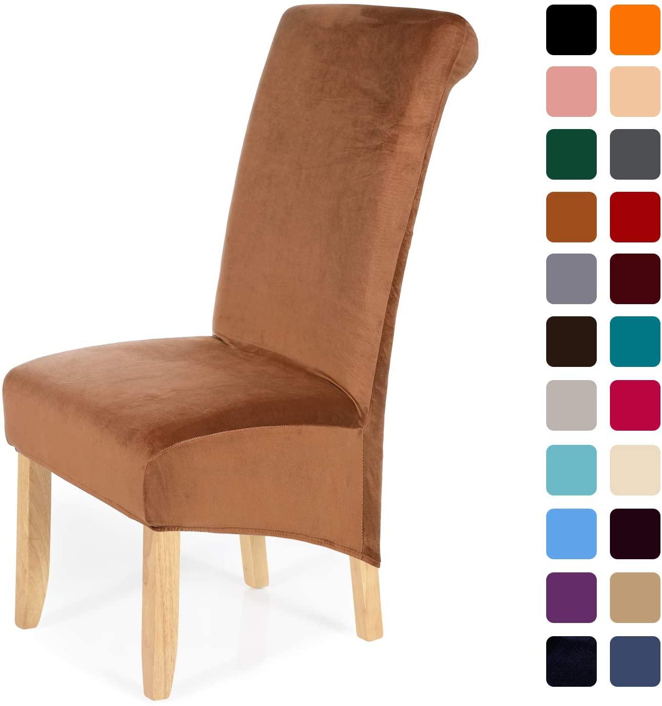 smiry Stretch Velvet Dining Chair Covers, Removable Washable Large Soft Dining Chair Slipcovers for Kitchen Home Restaurant (Set of 4, Camel)