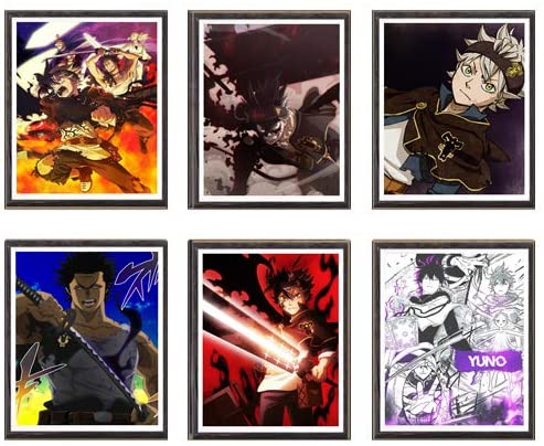 MS Fun Black Clover Anime Fabric Asta Yuno Yami Original Wall Poster Art Print for Home Decor,8 x 10 Inches,No Frame,Set of 6