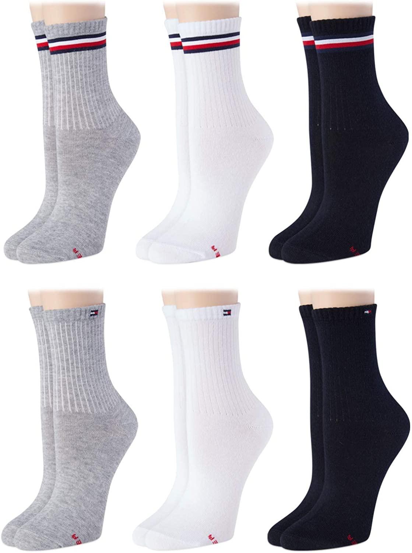 Tommy Hilfiger Women's 6 Pack Flag Sport Cushion Short Crew Socks