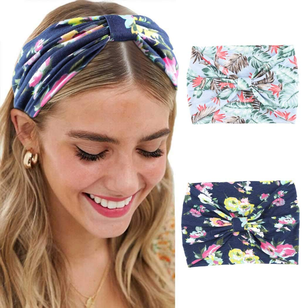Aularso Yoga Criss Cross Knot Headbands Workout Stretch Hair Bands Floal Turban Head Wraps for Women and Girls(2pcs)