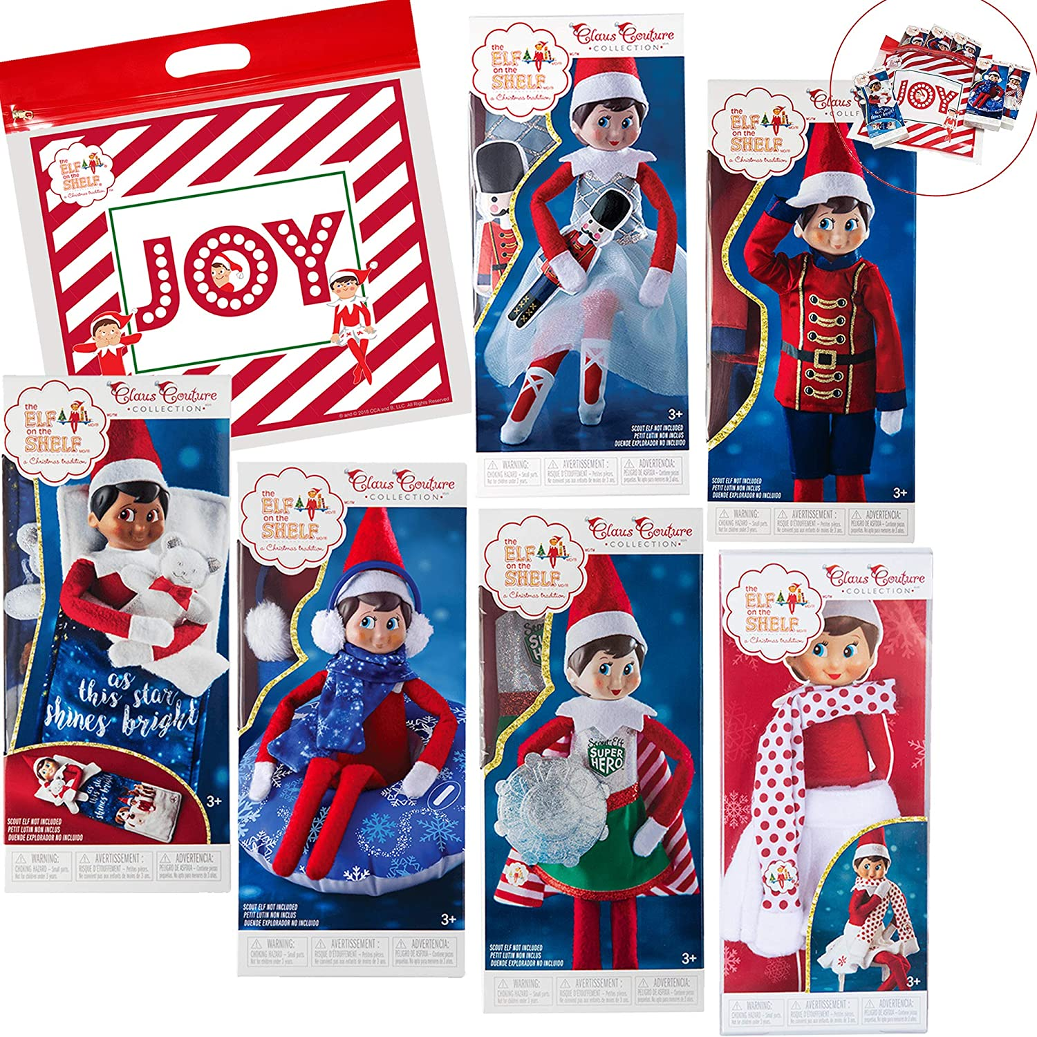 Elf on The Shelf Claus Couture Complete Scout Elf Accessories Pack, Set of 6 Outfits with Exclusive Joy Travel Bag