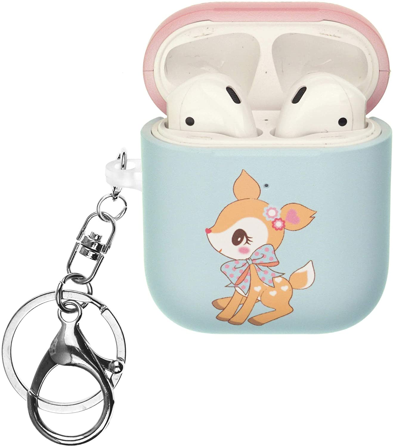 Sanrio AirPods Case with Key Ring Keychain Key Holder Hard PC Shell Strap Hole Cover [Front LED Visible] Compatible with Apple Airpods 1 & AirPods 2 - Hummingmint