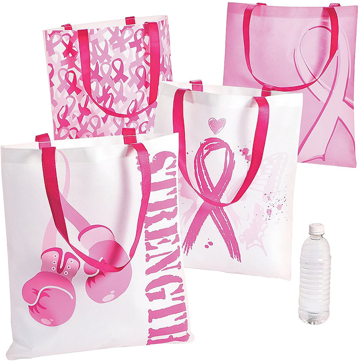 Large Pink Ribbon Reusable Tote Bags (set of 12) Breast Cancer Awareness Supplies