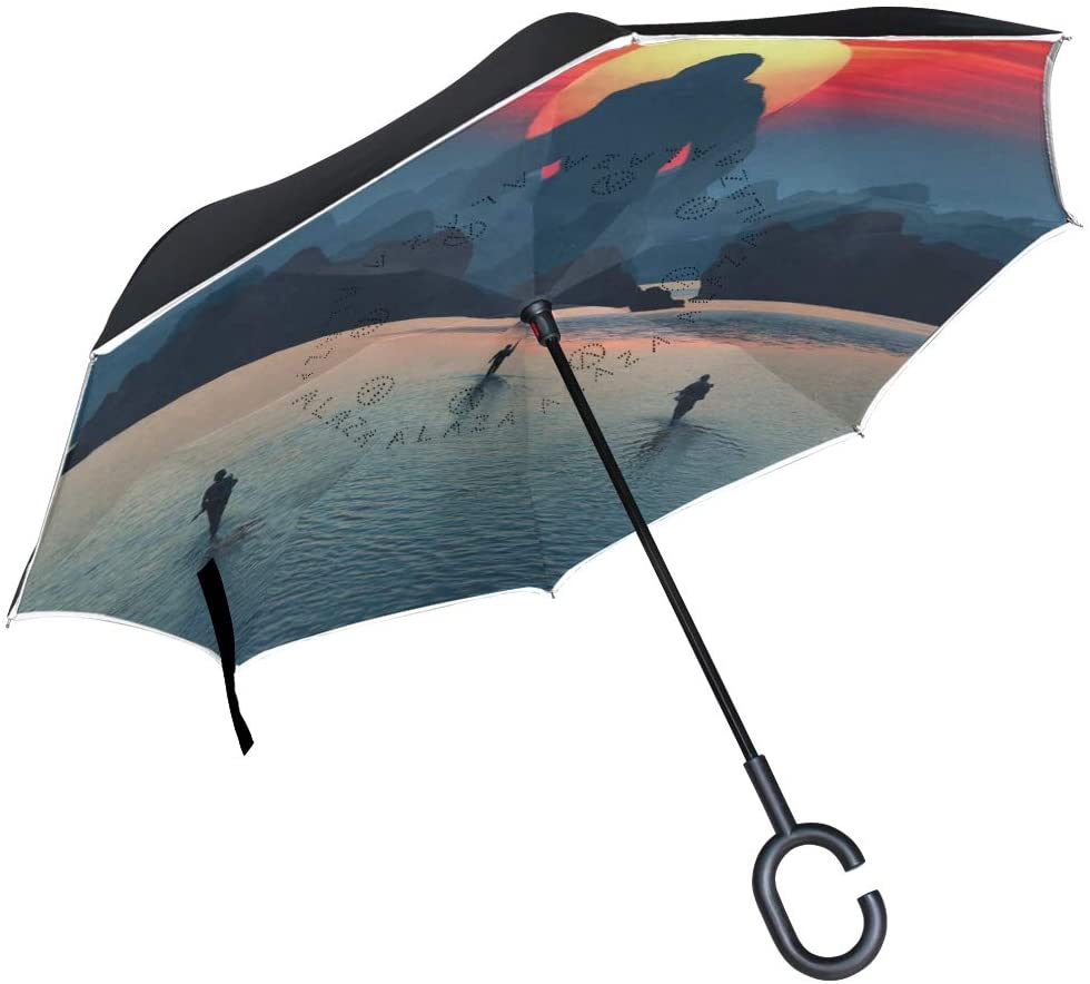 SUABO Double Layer Inverted Umbrellas Reverse Folding Umbrella Mysterious Monster Windproof Umbrella for Car Rain Outdoor with C-Shaped Handle
