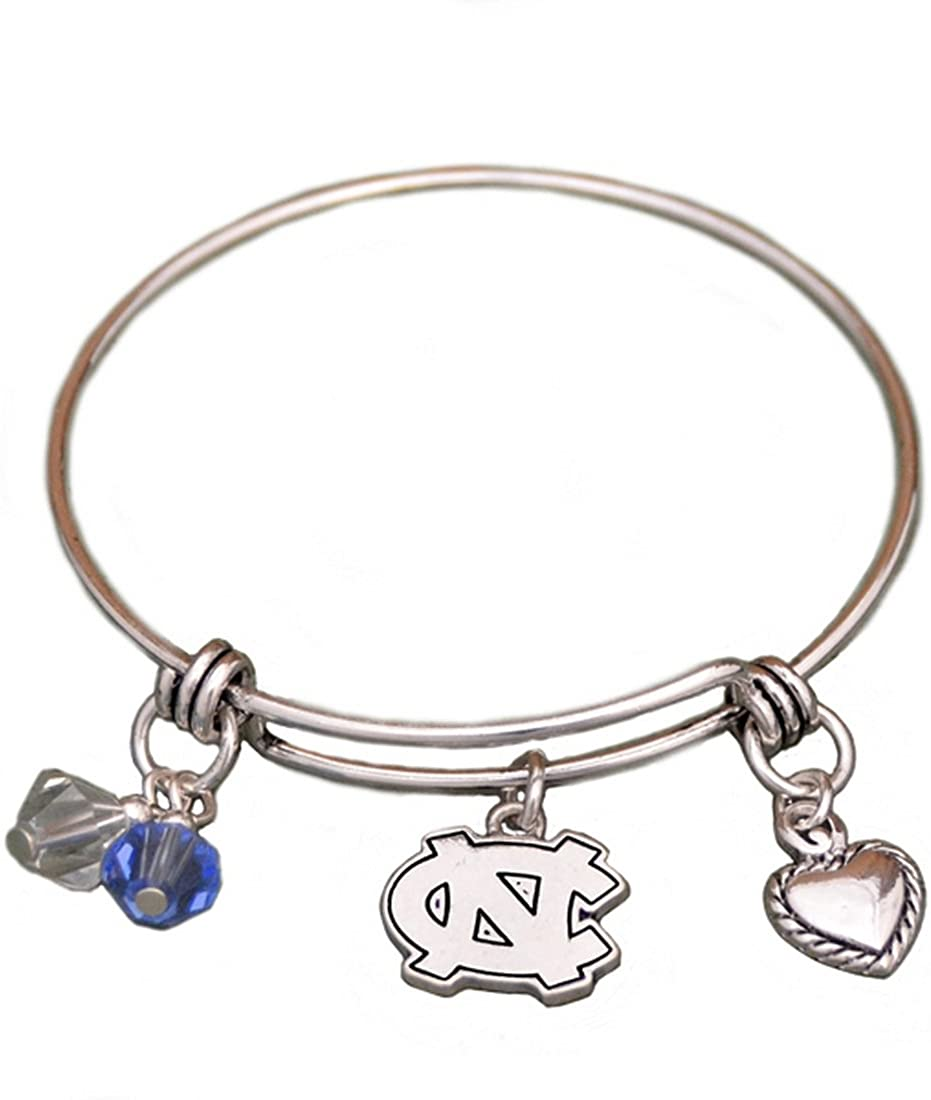 Sports Team Accessories Silver Tone Wire Bracelet with North Carolina Tar Heels Charm and Colors