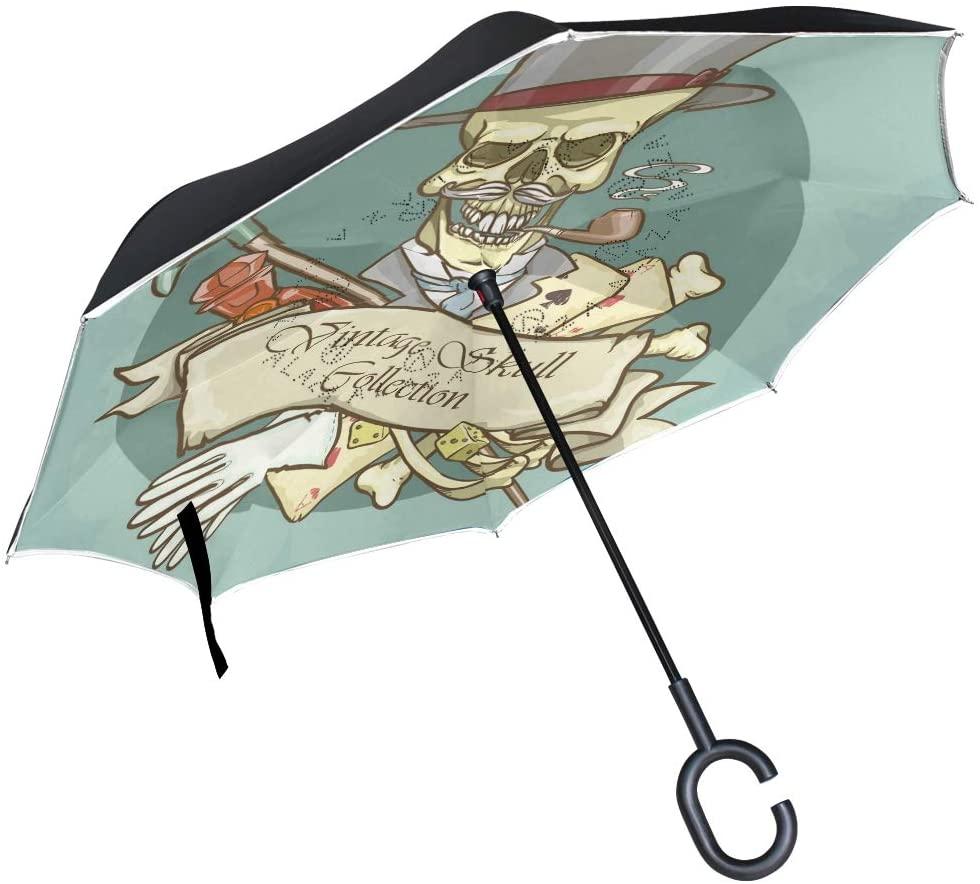 OREZI Gentleman's Skull Logo Reverse Umbrella Large Double Layer C-Shaped Handle Folding Umbrella Windproof UV Protection Golf Umbrella for Woman and Men