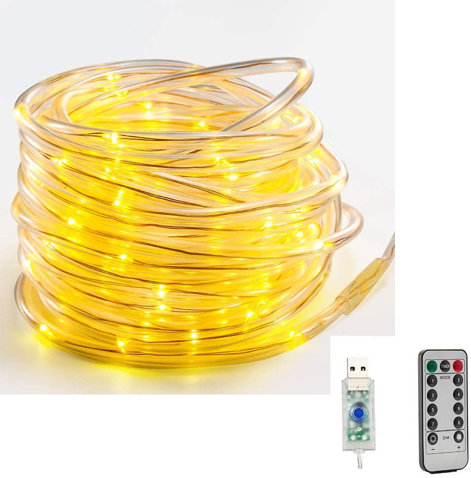 LED Rope Lights 50 LED/23ft USB Powered, Indoor/Outdoor LED String Lights, IP65 Waterproof Fairy Copper Wire Lights for Fence Patio Garden Tree Christmas Party Wedding(Warm White) (23.0, Warm white)