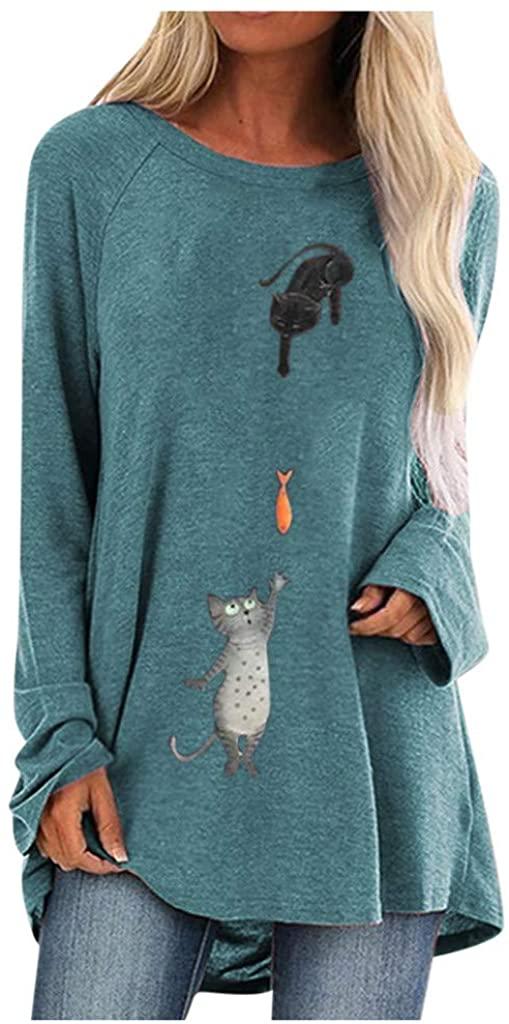 EDC Loose Tunic Tops for Leggings for Women Funny Cat Print Long Sleeve Crewneck Shirts Tunics Tops Plus Size. S-5XL
