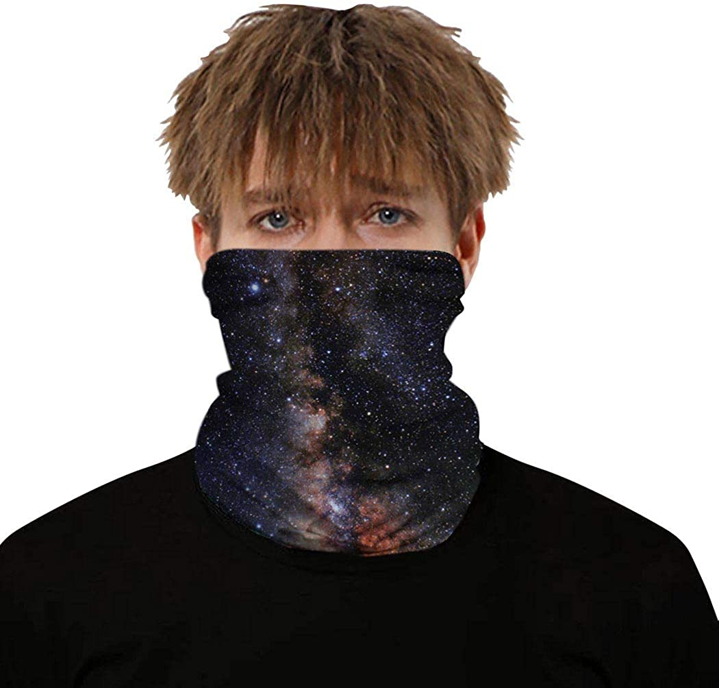 Vivilly Sport Neck Gaiter Outdoor Breathable Star Printing Face Scarves Running Hiking Bandana Balaclava for Women and Men Black