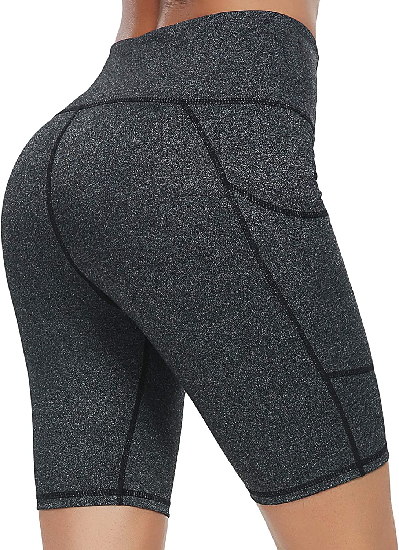 CzDolay Yoga Short Women's High Waist Workout Tummy Control Short Leggings with Side Pocket XS-XXL
