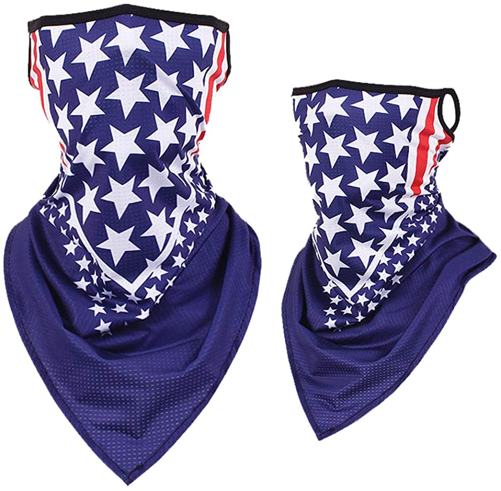 Cooling Neck Gaiters Summer Cotton Face Mask Scarf Bandana Balaclava Camo with Ear Loop Fishing for Men Women Youth