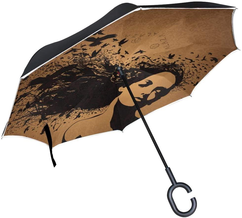 senya Reverse/Inverted Umbrellas Portrait of Woman Double Layer Big Straight Umbrella UV Protection Windproof Travel Umbrella with C-Shaped Handle